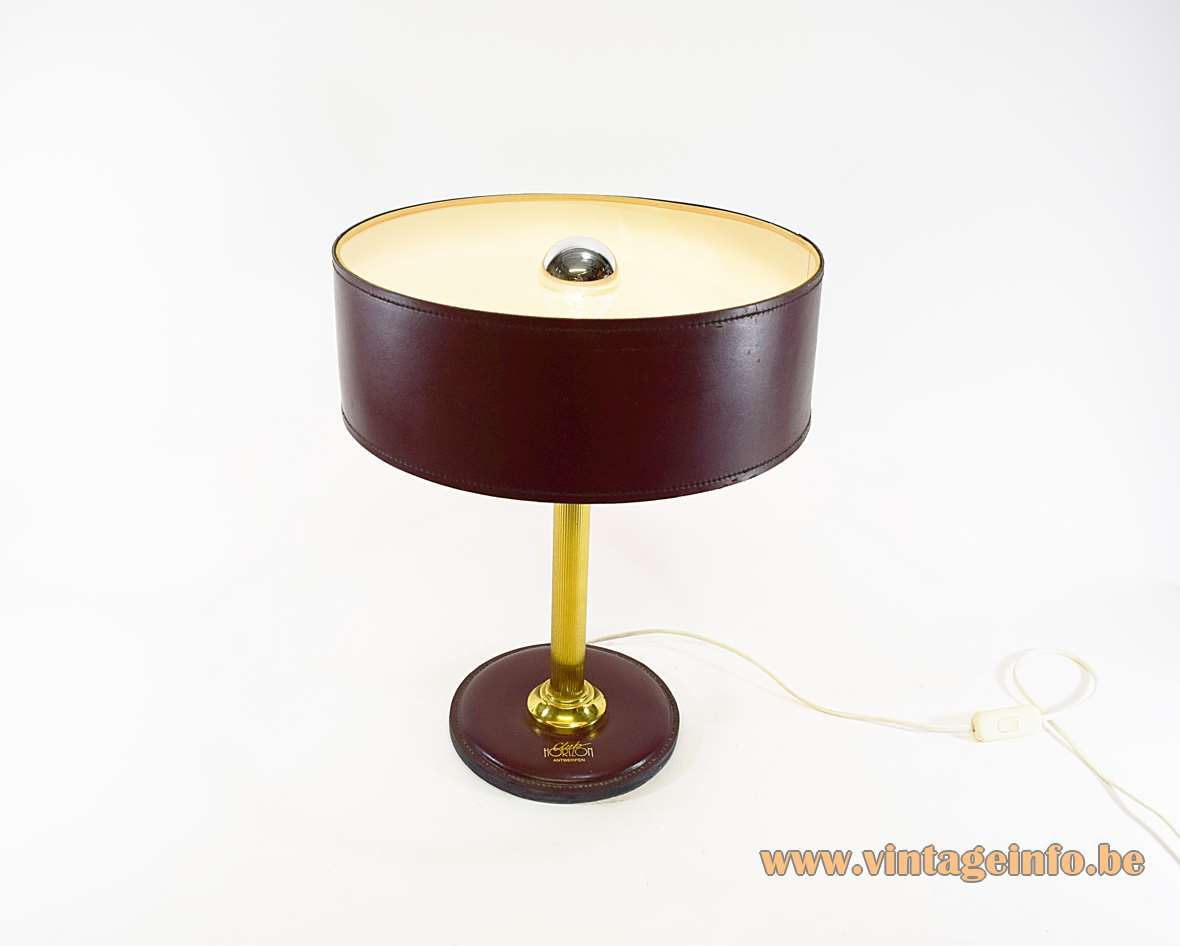 Leather desk lamp maroon burgundy clad round base Jacques Adnet Hermès Delvaux ILG 1970s brass rod MCM Mid-Century Modern