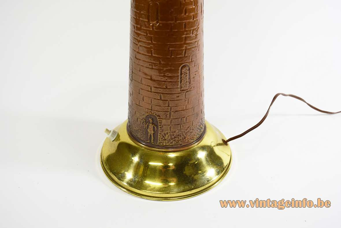 Lighthouse table lamp in copper and brass round base and tower 1950s 1960s MCM coastal souvenir France