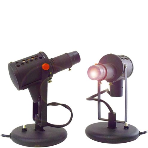 Lita projector table lamps in black wrinkle paint and 2 red buttons 1970s Jacques Biny France