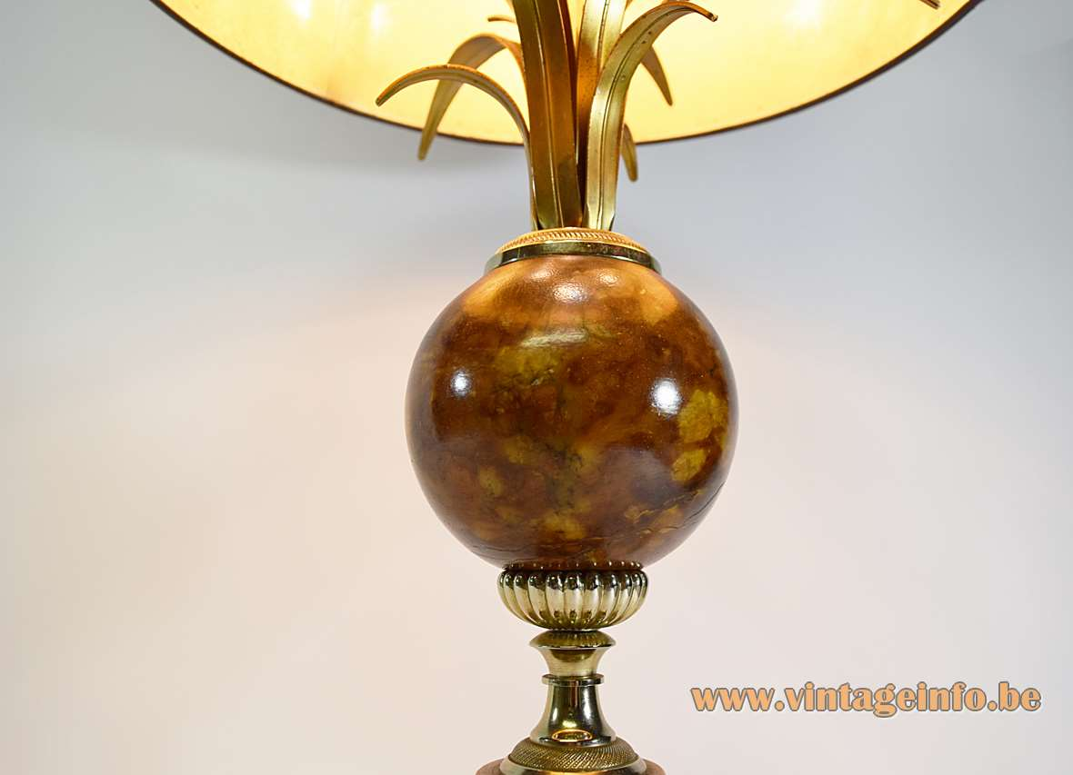 Marble & Reed Table Lamp palm brown velours lampshade square chrome base globe Hollywood Regency 1970s 1980s