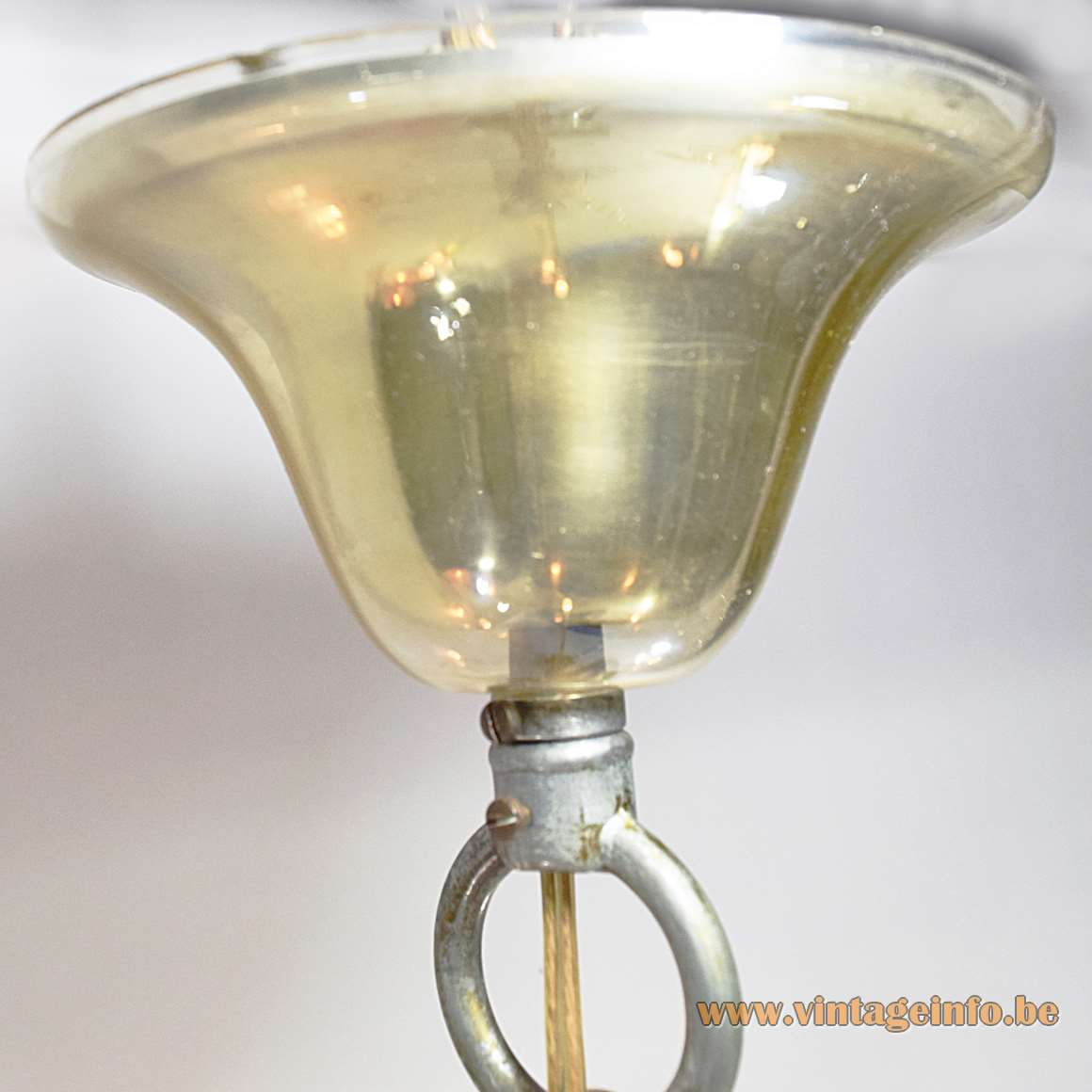 Murano amber glass 6 arms classic chandelier curved rods hand blown Venice gilded brass 1960s 1970s