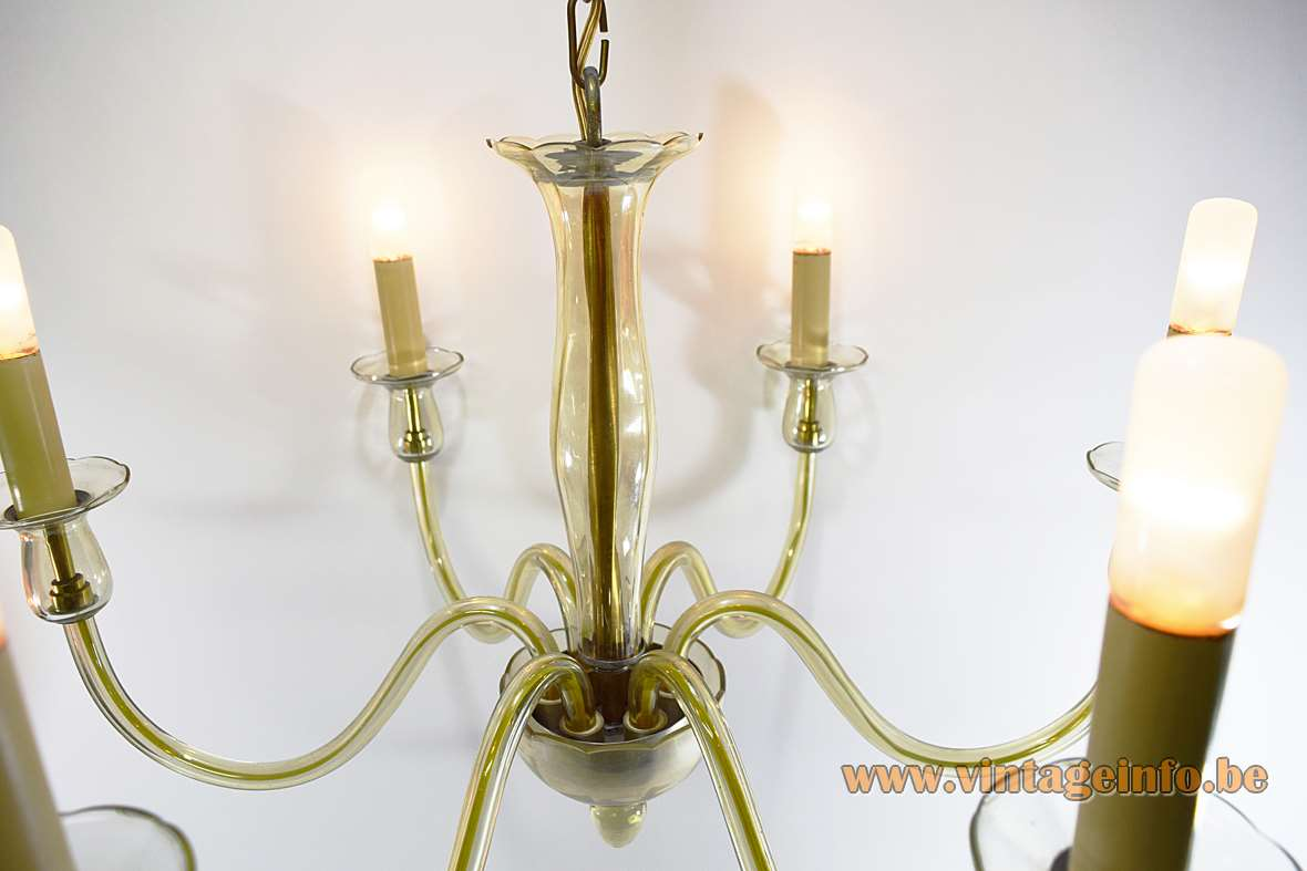 Amber Murano glass classic chandelier with 6 hand blown curved rods and gilded brass 1960s 1970s