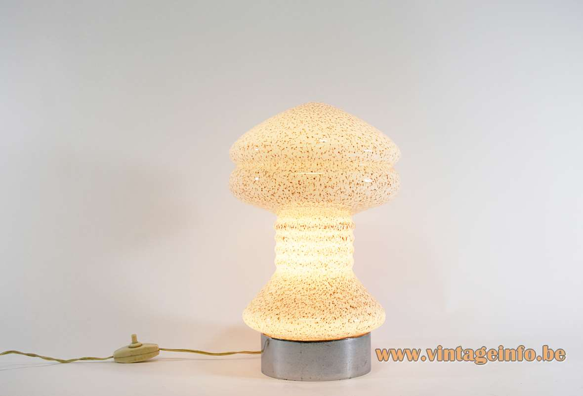 Mushroom table lamp Murano speckled mottled glass chrome ring base 1950s 1960s MCM Mid-Century Modern E14 but plug