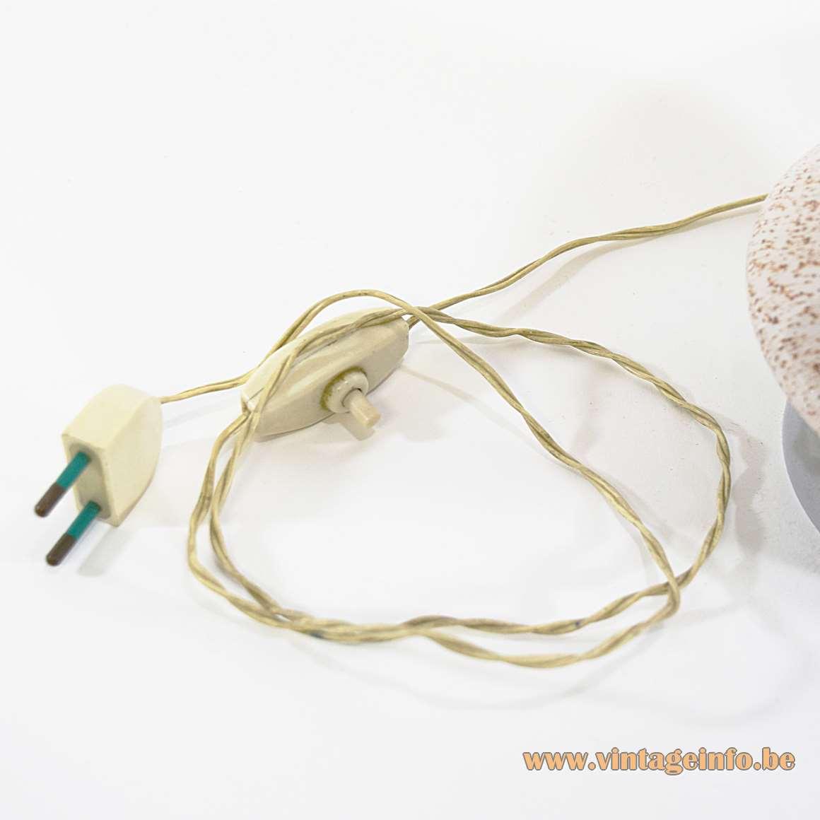 Speckled Mushroom Murano Table Lamp chrome ring base mottled 1950s 1960s Italy VLM Parts