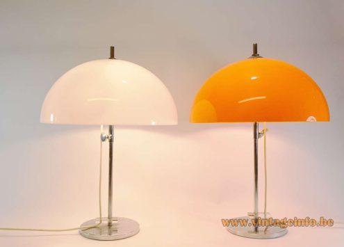 Gepo White Orange Mushroom Table Lamps acrylic chrome round base, screw, rod Netherlands 1960 1970s MCM