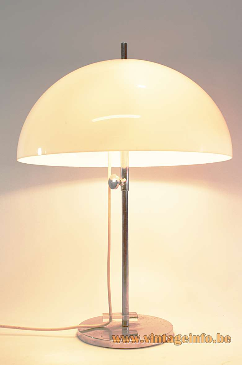 Gepo white mushroom table lamp chrome base & rod adjustable acrylic lampshade 1960s 1970s 2 E27 sockets