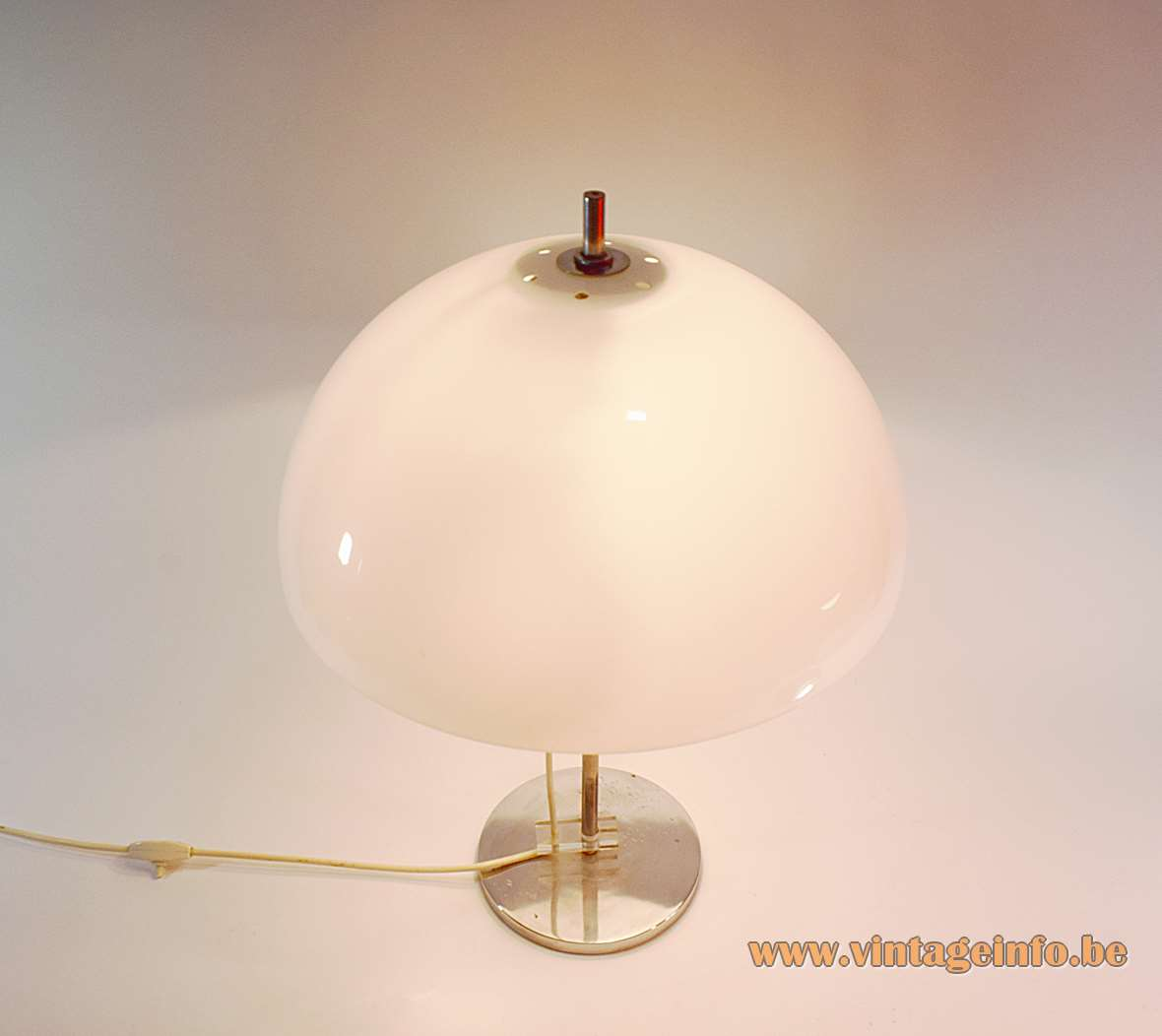 Gepo white mushroom table lamp in chrome and acrylic adjustable with 2 E27 sockets 1960s 1970s