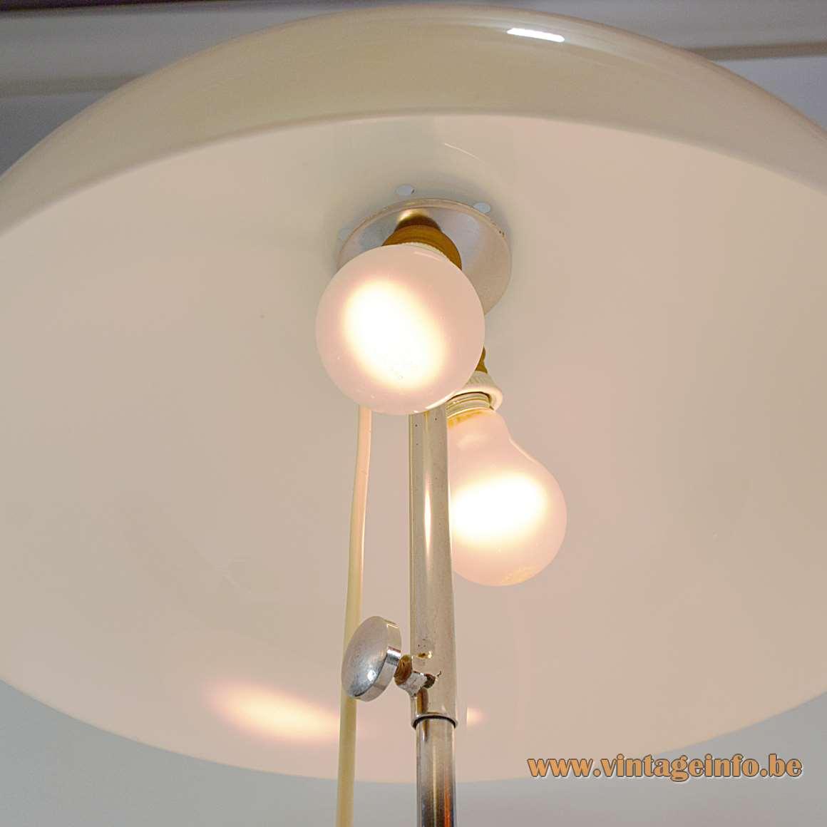 Gepo White Mushroom Table Lamp acrylic chrome round base, screw, rod Netherlands 1960 1970s MCM
