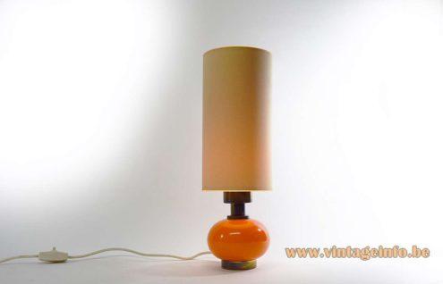 Orange Glass Globe & Brass Table Lamp brass round base glass globe long tubular lampshade 1960s 1970s MCM