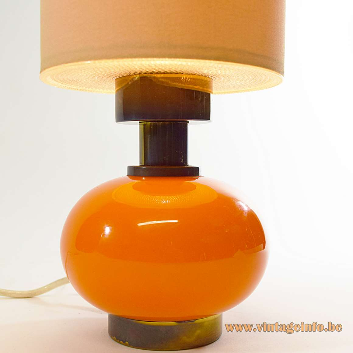 Orange Glass Globe & Brass Table Lamp brass round base glass globe long tubular lampshade 1960s 1970s MCM