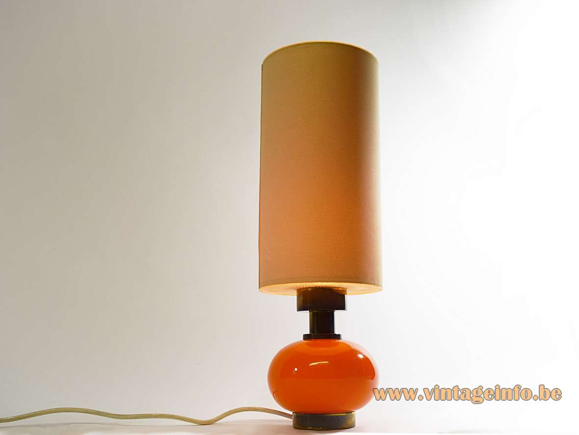 Orange glass globe & brass table lamp with a round base and tubular lampshade 1960s 1970s