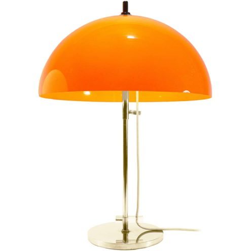 Gepo orange mushroom table lamp chrome base & rod adjustable acrylic lampshade 1960s 1970s 2 E27 sockets