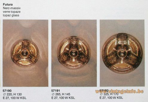 Peill + Putzler Futura Flush Mounts catalogue sizes 1970s smoked embossed topaz glass half globe Germany MCM