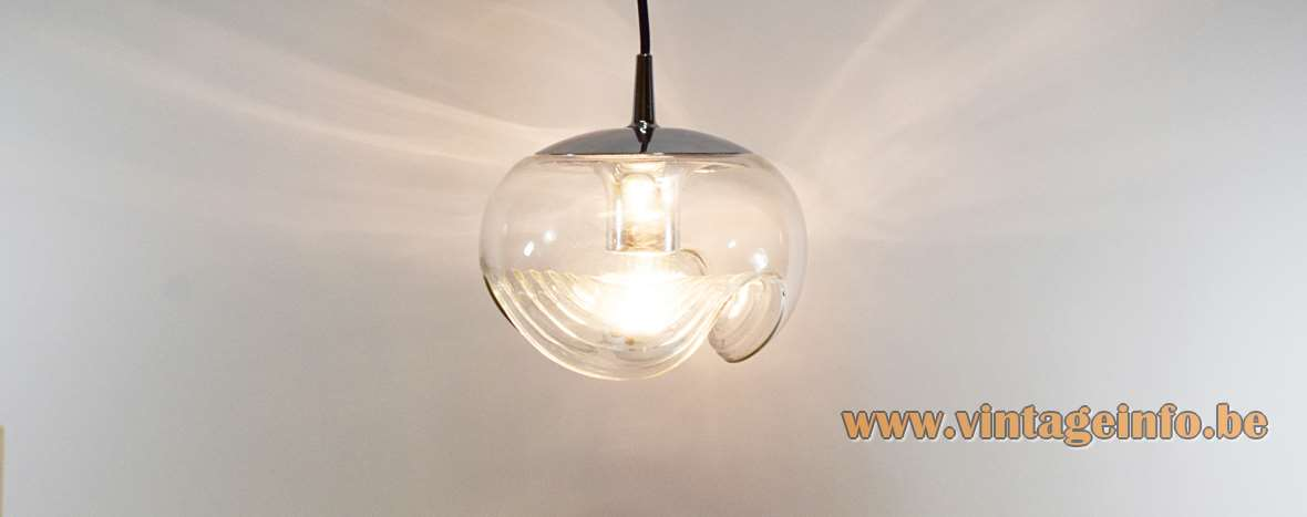 Peill + Putzler Futura Pendant Lamp 1970s hand blown clear embossed glass globe chrome Germany MCM