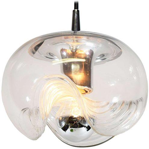 Peill + Putzler Futura pendant lamp clear embossed glass globe lampshade chrome lid 1970s Germany E27 socket