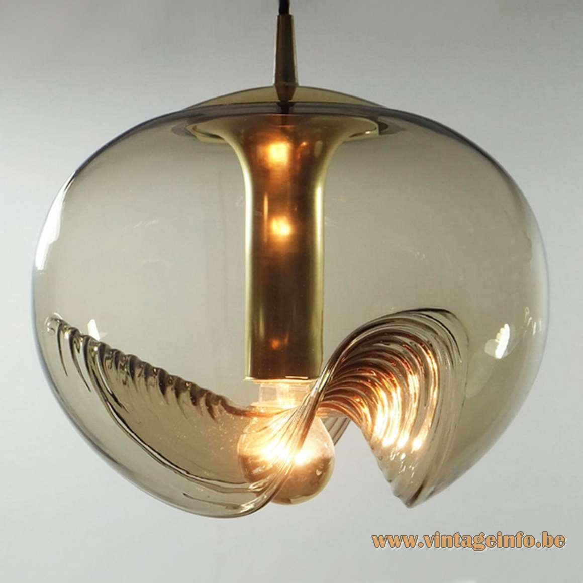 Peill + Putzler Futura Pendant Lamp 1970s hand blown smoked embossed topaz glass globe brass Germany MCM
