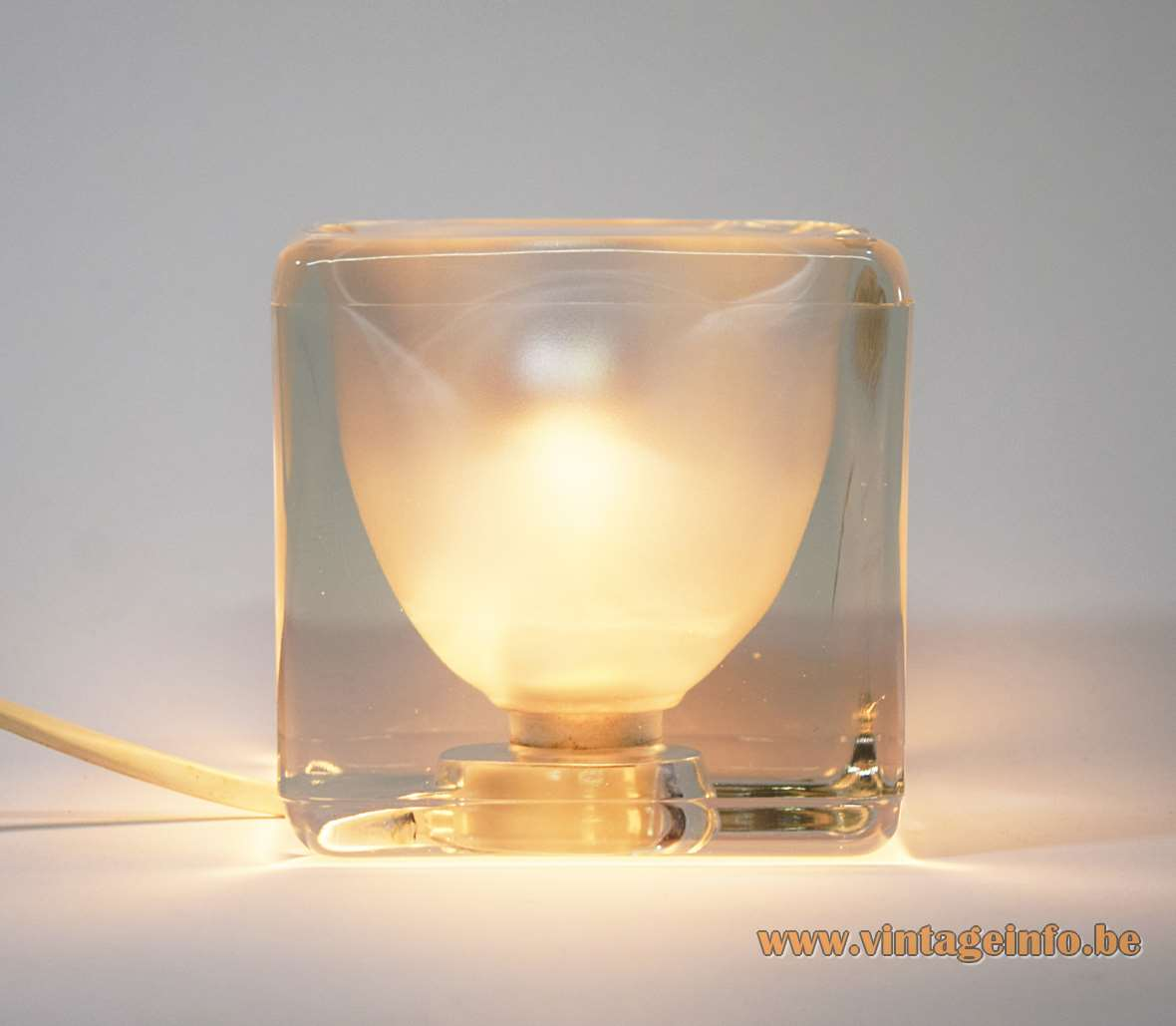 Peill + Putzler ice cube table lamp clear square glass base frosted mat inside 1970s 1980s E14 socket