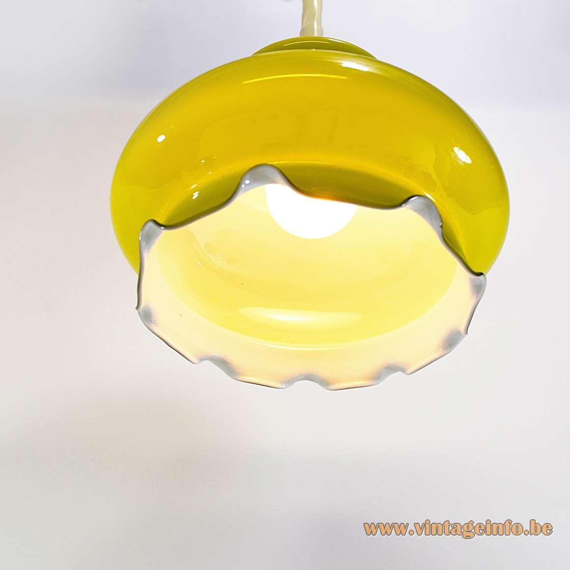 Peill + Putzler Olive Green Yellow Pendant Lamp hand blown glass serrated bottom 1960s 1970s MCM Germany