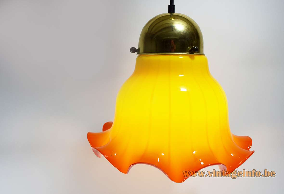 Peill + Putzler pendant lamp yellow and red/orange striped petticoat handkerchief light 1960s 1970s MCM Mid-Century Modern