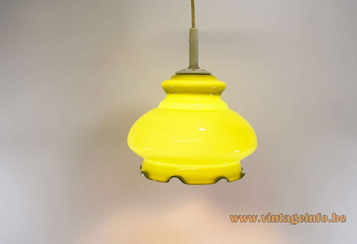 Peill + Putzler Olive Green Yellow Pendant Lamp hand blown glass serrated bottom 1960s 1970s MCM Germany