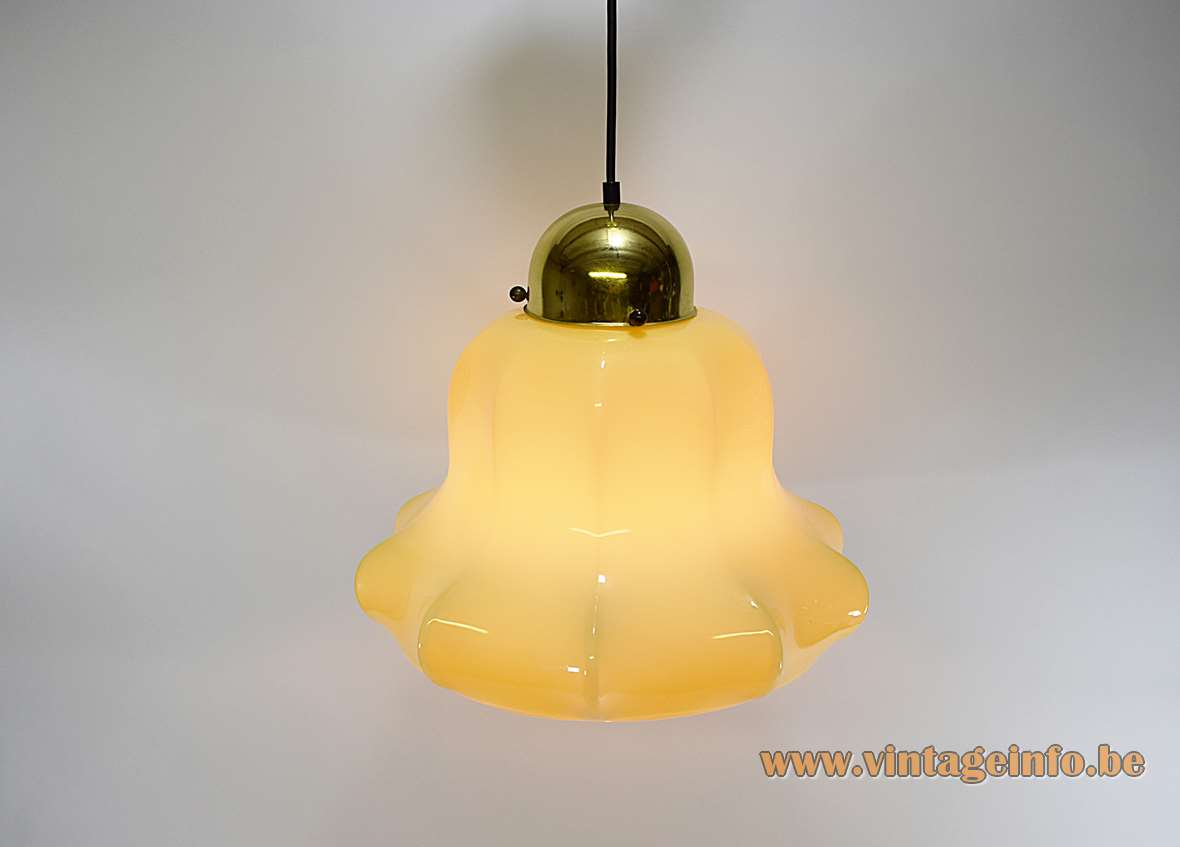 Peill + Putzler vanilla skirt pendant lamp in beige yellow glass in a handkerchief form 1970s