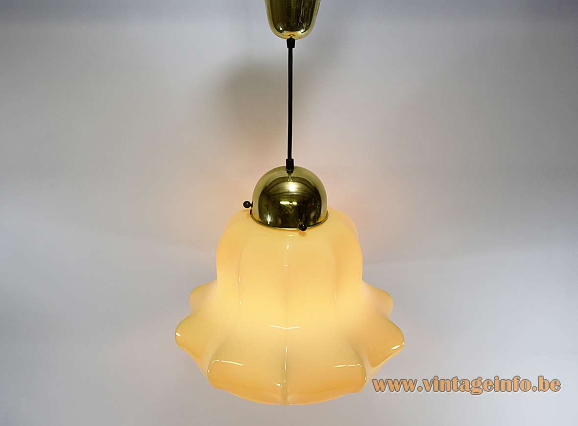 Peill + Putzler vanilla skirt pendant lamp beige yellow glass handkerchief lampshade 1960s 1970s Germany E27 socket