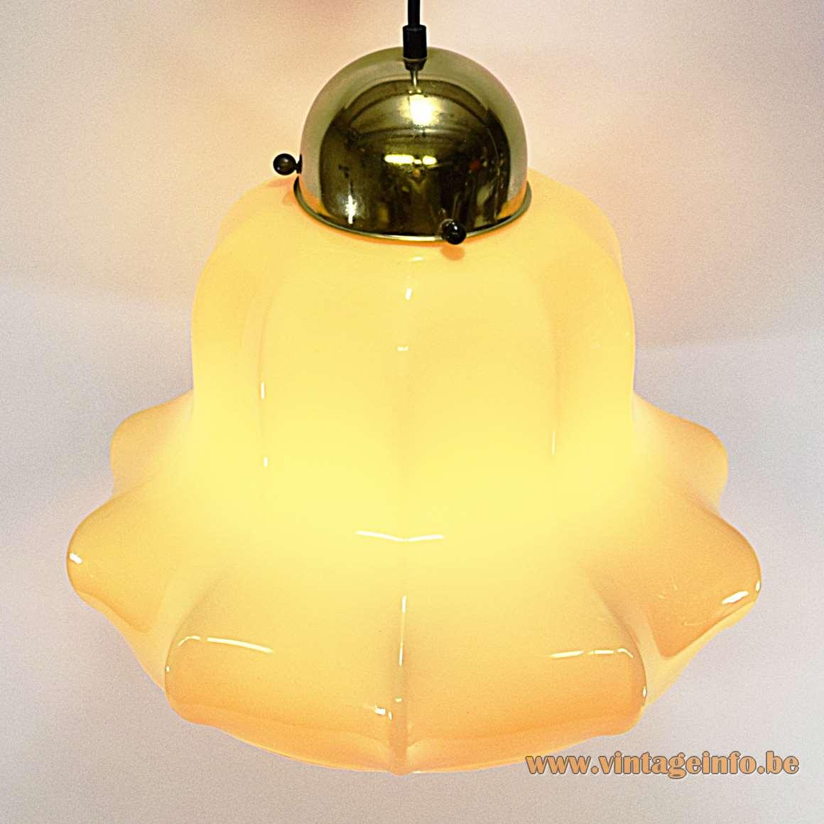 Peill + Putzler vanilla skirt pendant lamp hand blown doublé glass handkerchief 1970s MCM