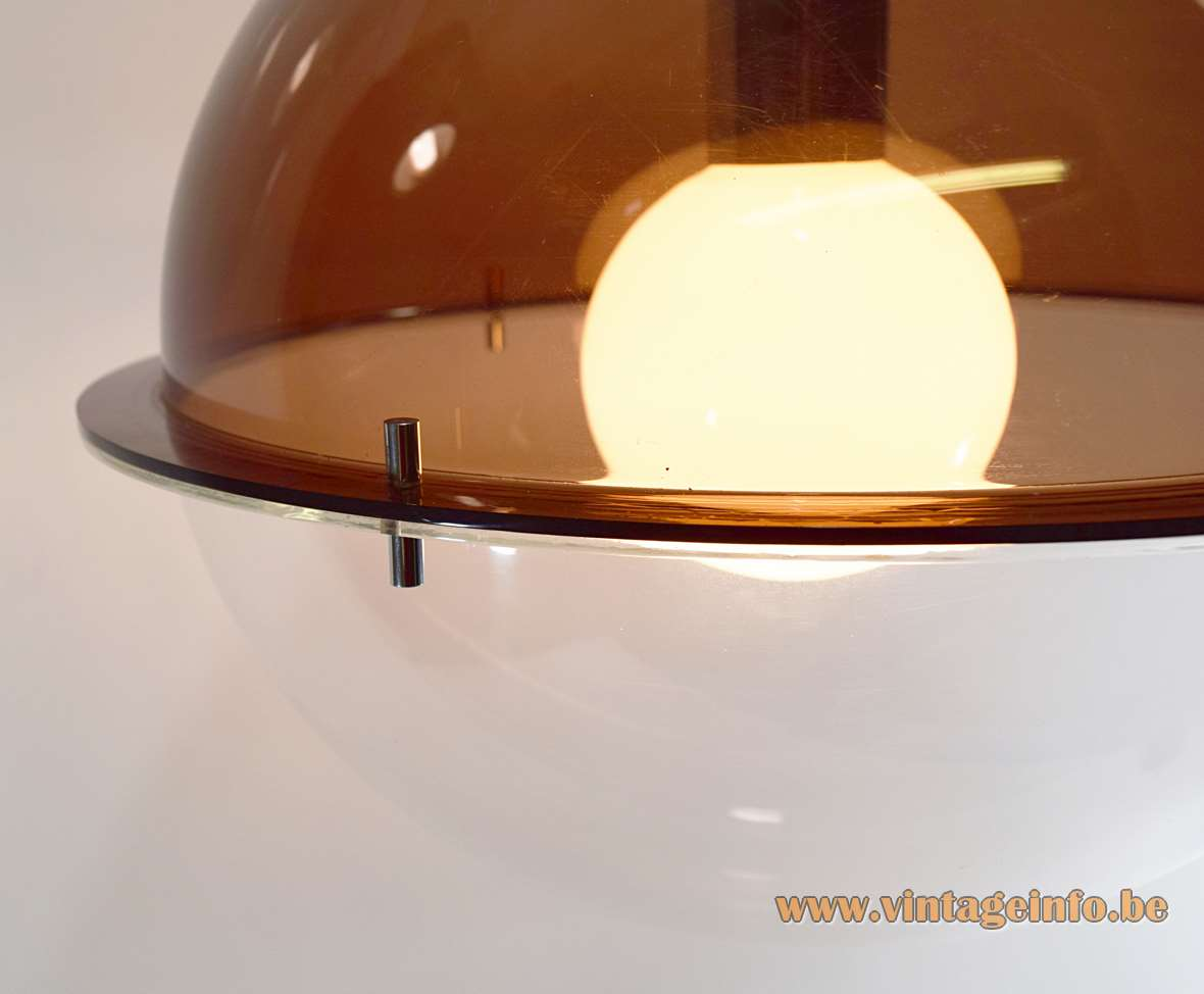 Acrylic Globe Pendant Lamp brown clear Perspex chrome 1970s Massive MCM