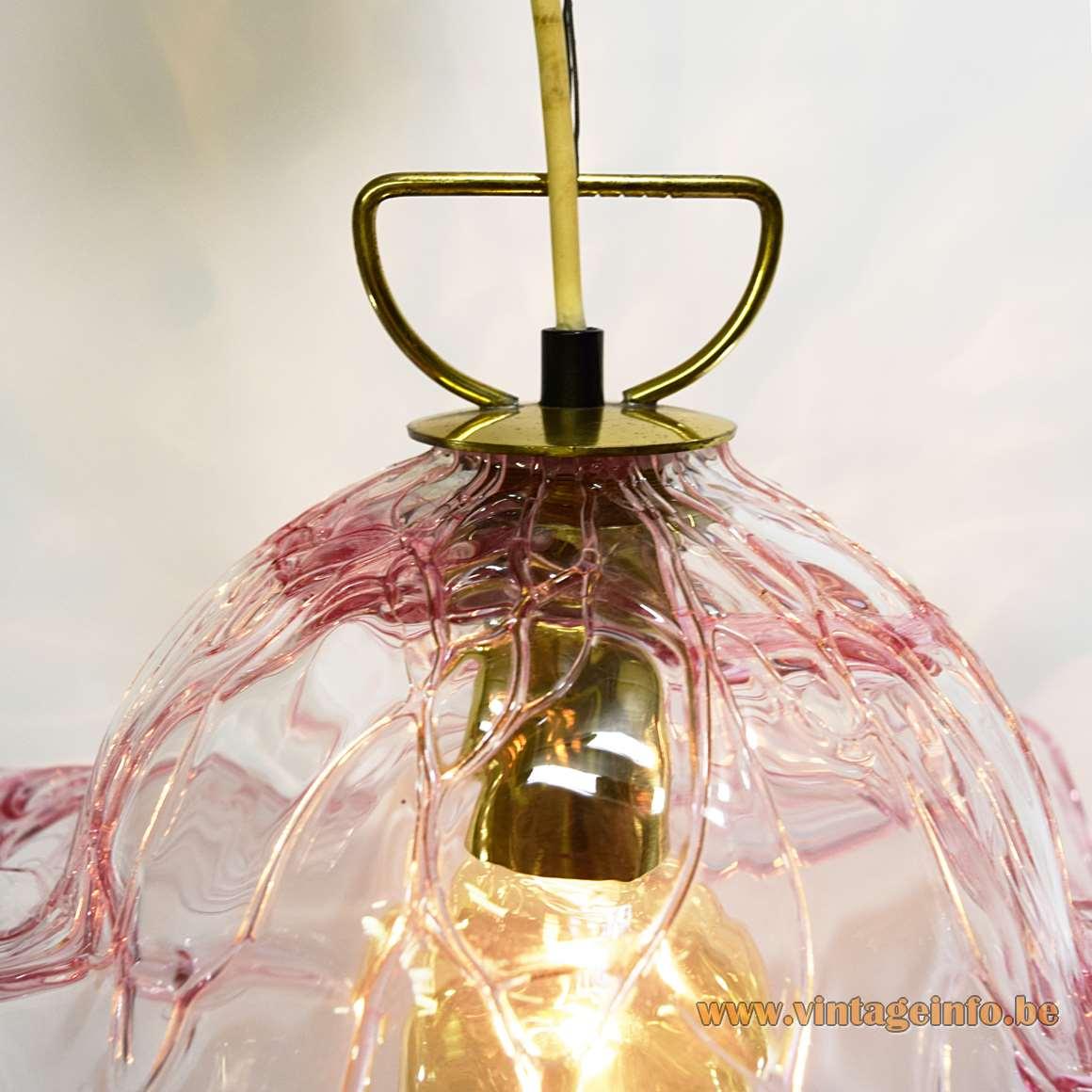 Pink Veined Murano Pendant Lamp translucent hand blown glass 1960s 1970s Kalmar Franken Austria MCM
