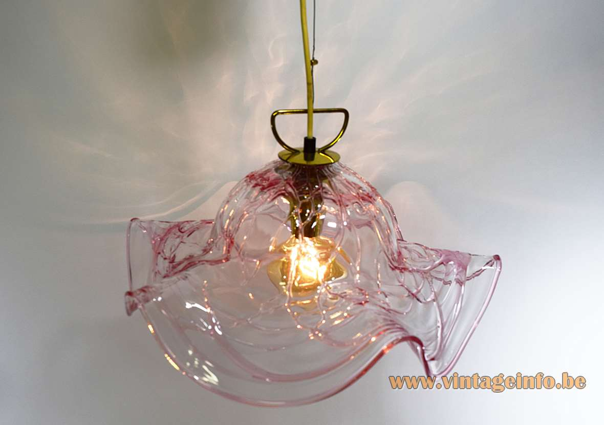 Pink veined Murano pendant lamp clear glass lampshade with red streaks Kalmar Franken 1960s Austria