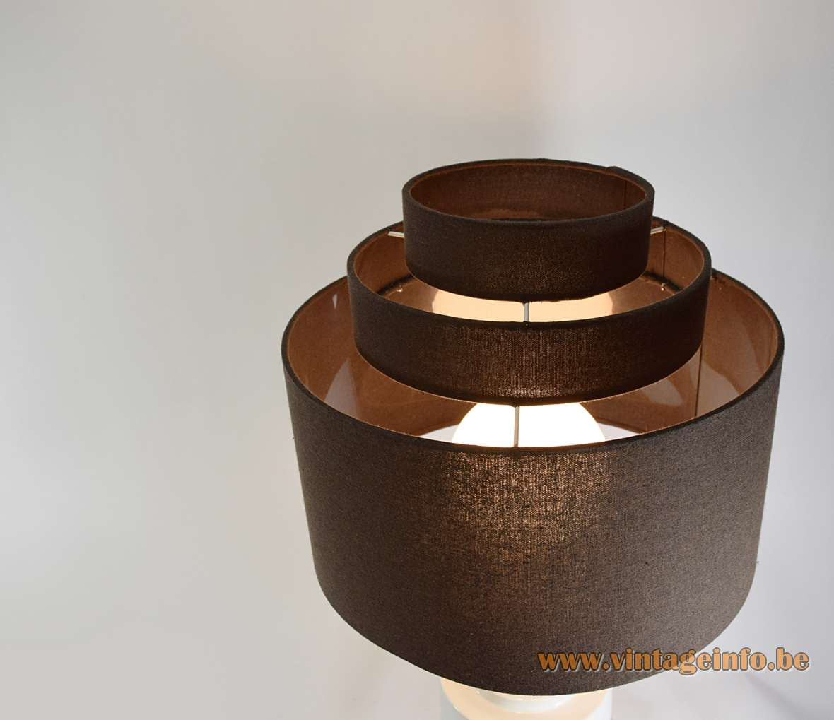 Prof. Petucco table lamp white glazed round ceramics base brown layered fabric lampshade 1970s Italy