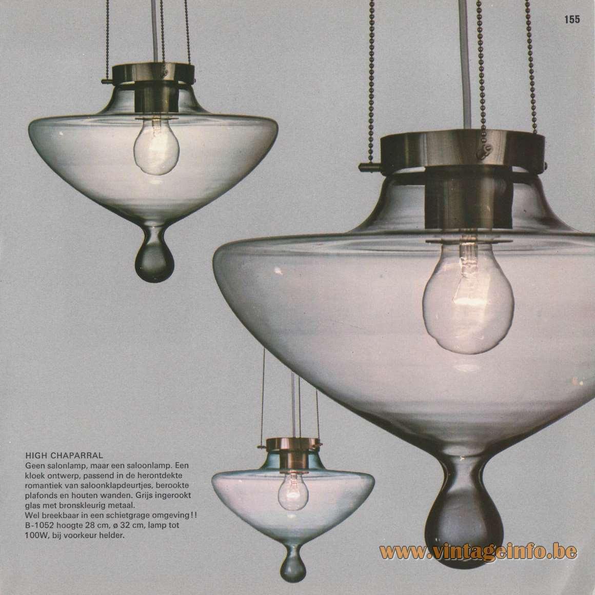 Raak Catalogue 8 - 1968 - High Chaparral Droplet Pendant Lamps