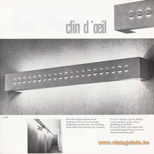 Raak Clin d'Oeil -C-1702 - Raak 8 Catalogue - 1968 - Evert Jelle Jellens