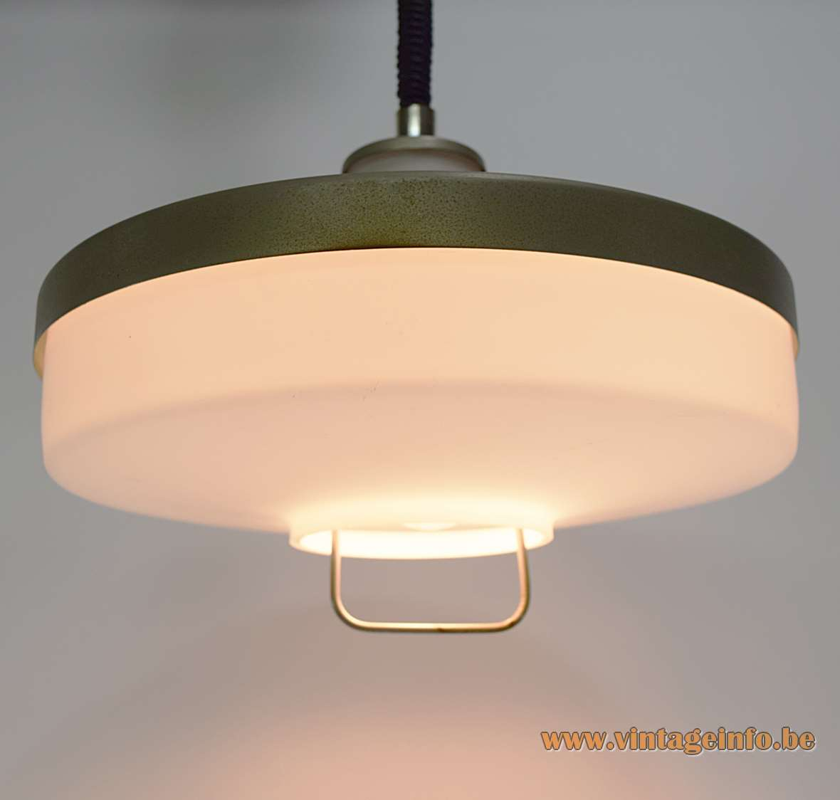 Rise & Fall Swedish Pendant Lamp opaque opal glass UFO green/gray metallic painted on top 1960s 1970s MCM Rolly
