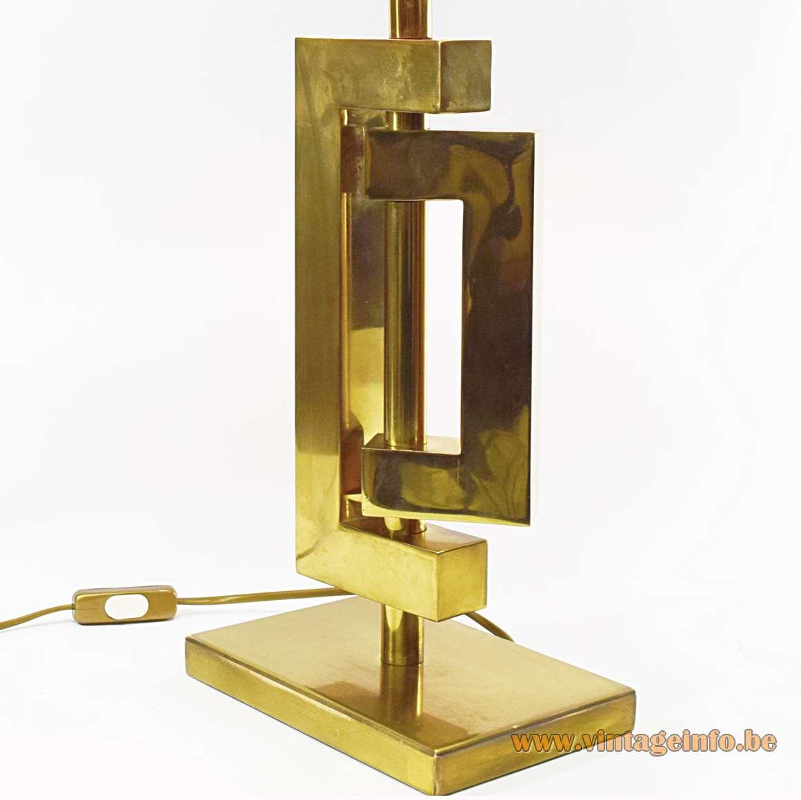 Romeo Rega Brass Table Lamp geometric sculptural square tubular sections rectangular base 1970s 1980s MCM