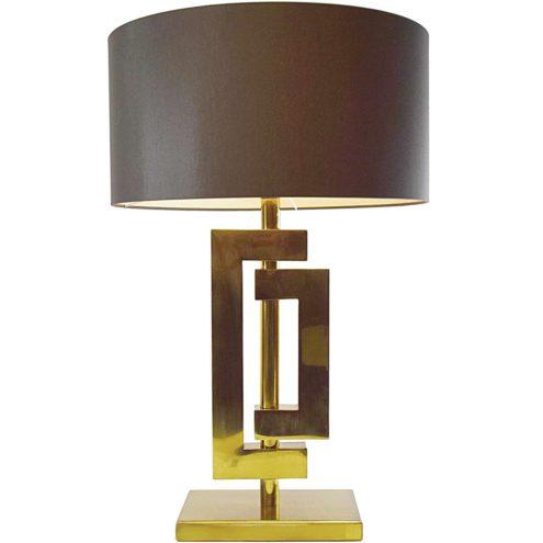 Romeo Rega brass table lamp rectangular base geometric square tubes round brown fabric lampshade 1970s 1980s Italy