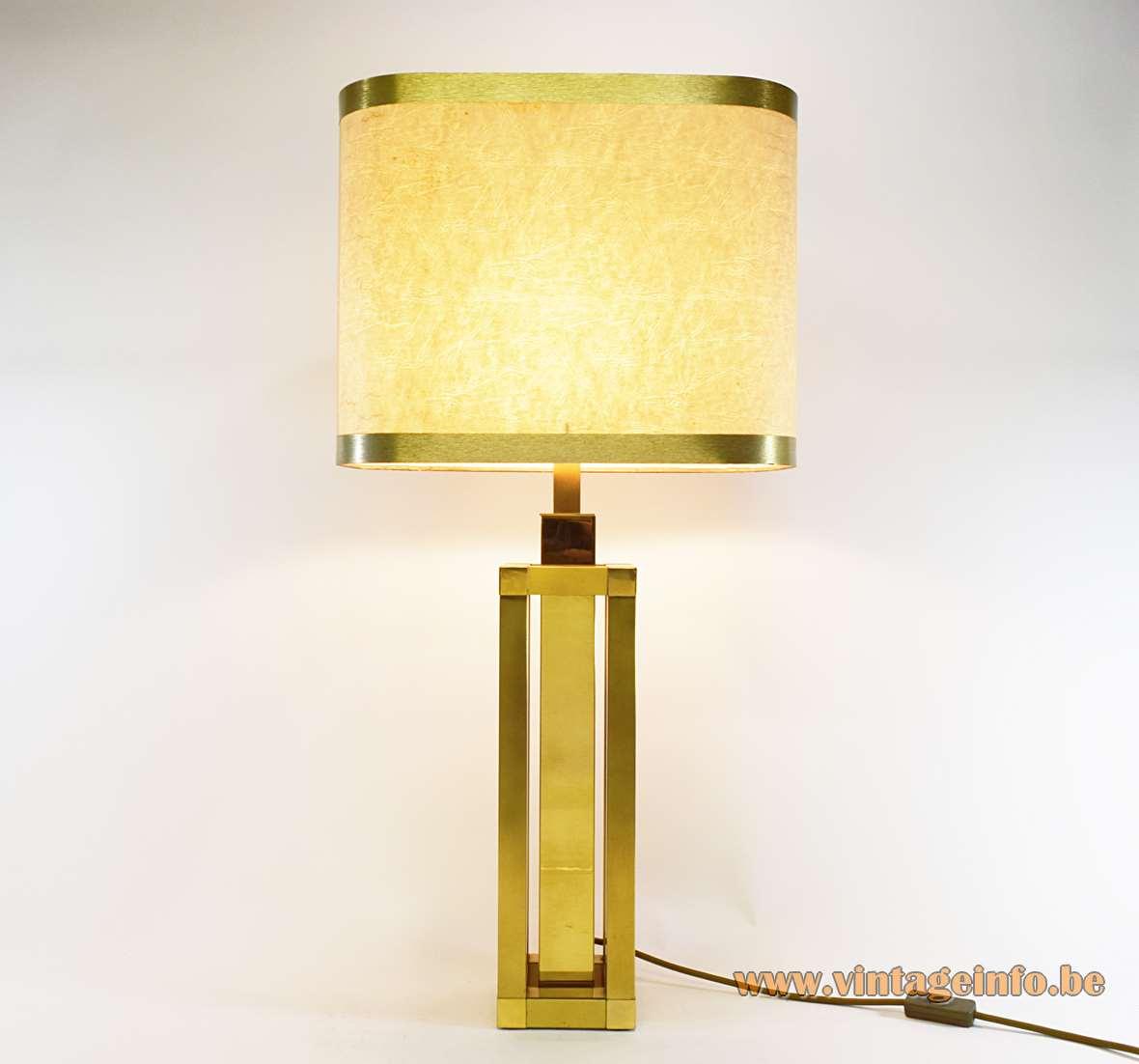 Romeo Rega Square Brass Tubes Table Lamp sculptural geometric design brushed polished 1970s MCM