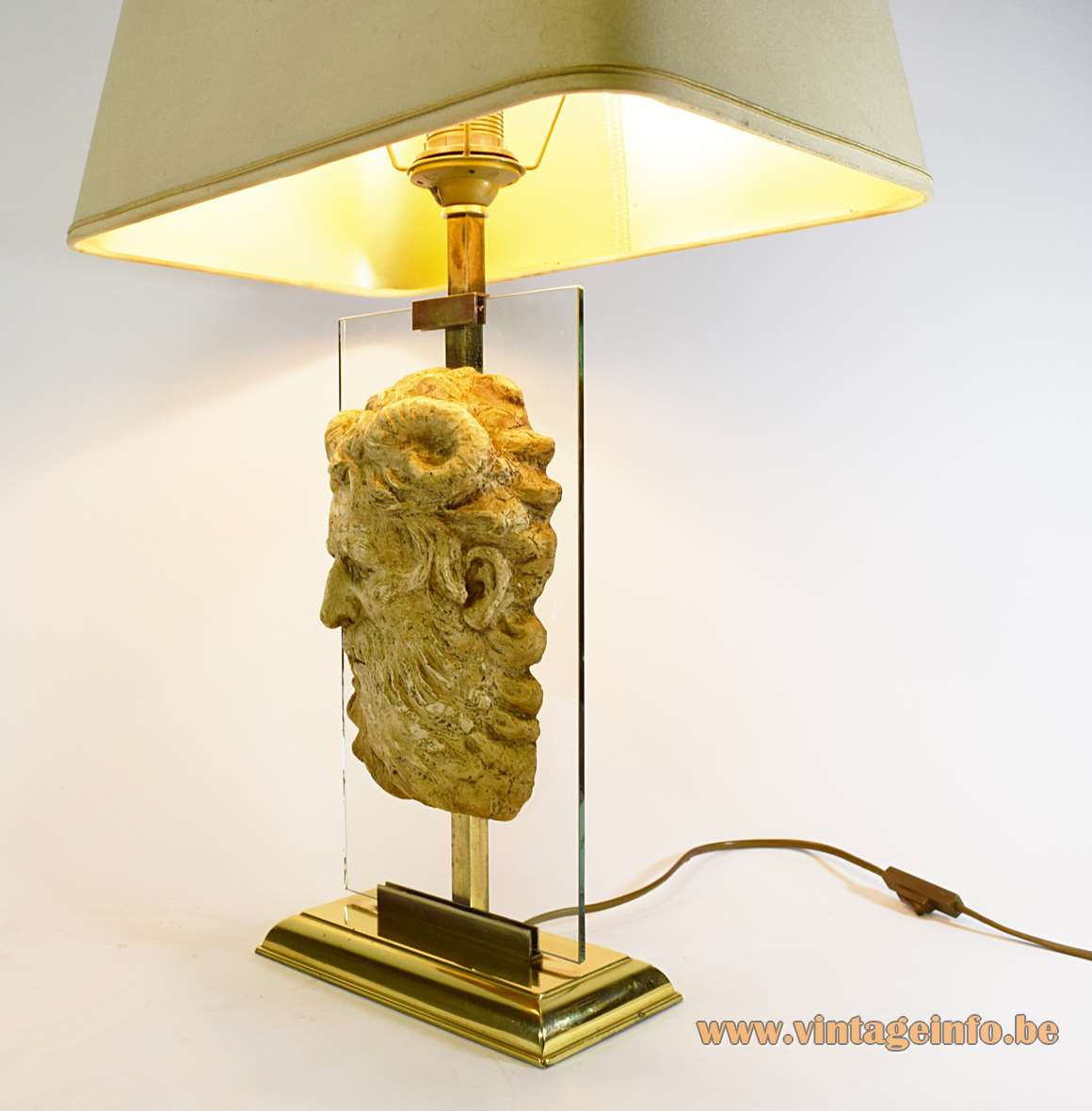 Satyr Table Lamp glass plate stone head sculpture brass base Hollywood Regency Le Dauphin France