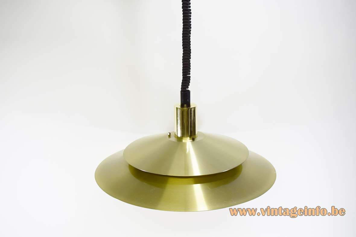 Scandinavian Aluminium Pendant Lamp gold anodized 2 dishes witch hat 1960s 1970s rise & fall MCM
