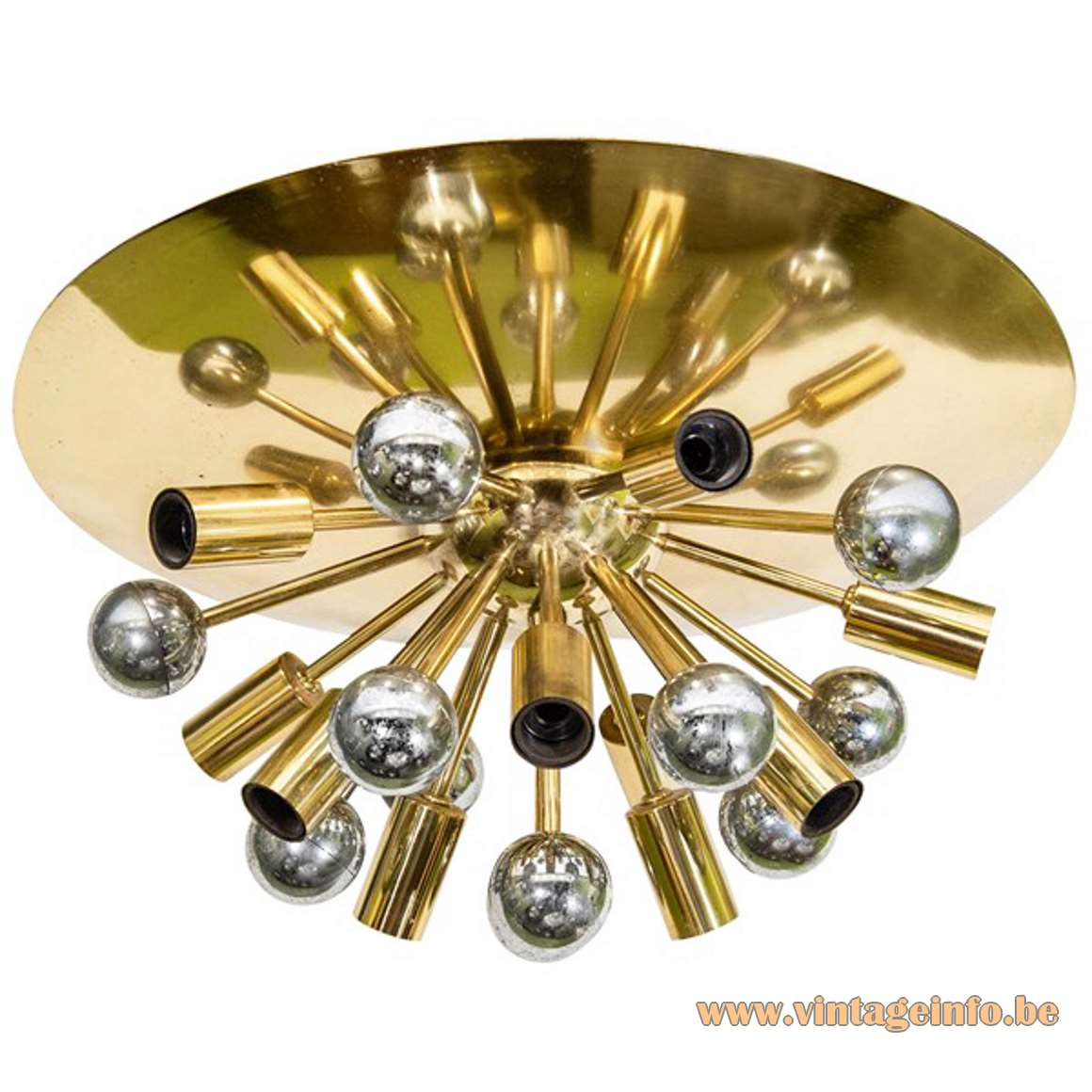 S.A. Boulanger Brass Sputnik Flush Mount 10 light bulbs 1960s 1970s Belgium round wall lamp MCM