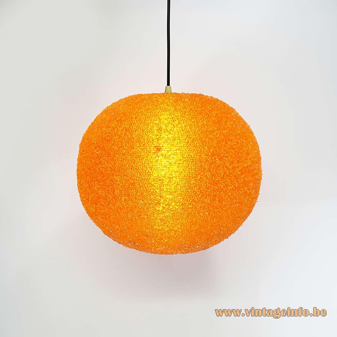 Sugar ball Sphere pendant lamp big orange Rotaflex plastic globe design: John Sylvia Reid 1960s