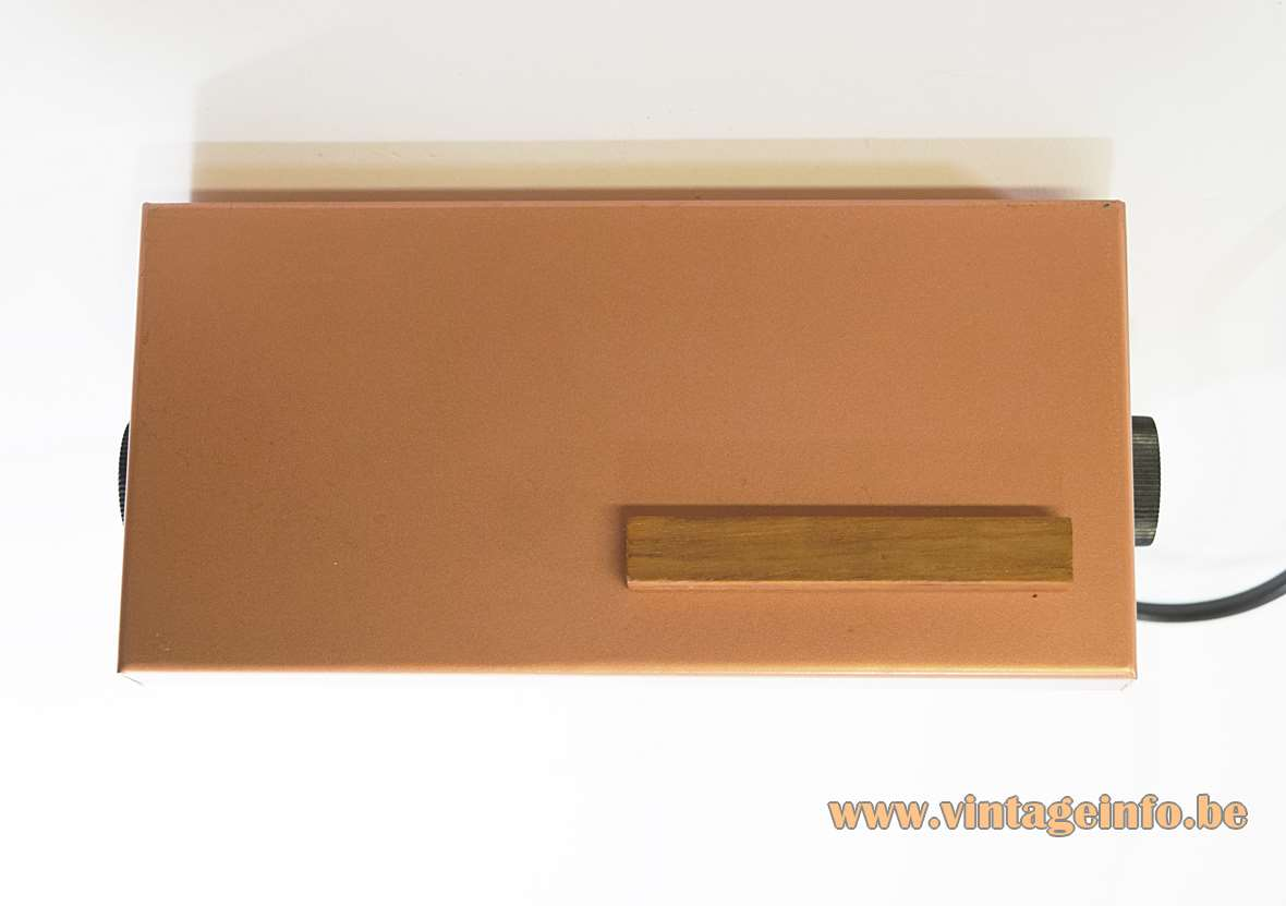 Teka 7015 wall lamp rectangular Bakelite wall mount teak handle copper coloured lid 1960s 1970s Germany
