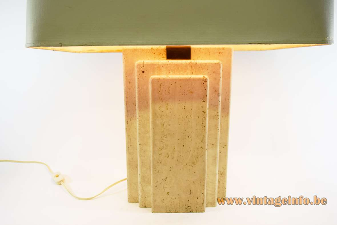 Travertine Table Lamp Limestone Camille Breesch Belgium brass fabric lampshade 1960s 1970s MCM