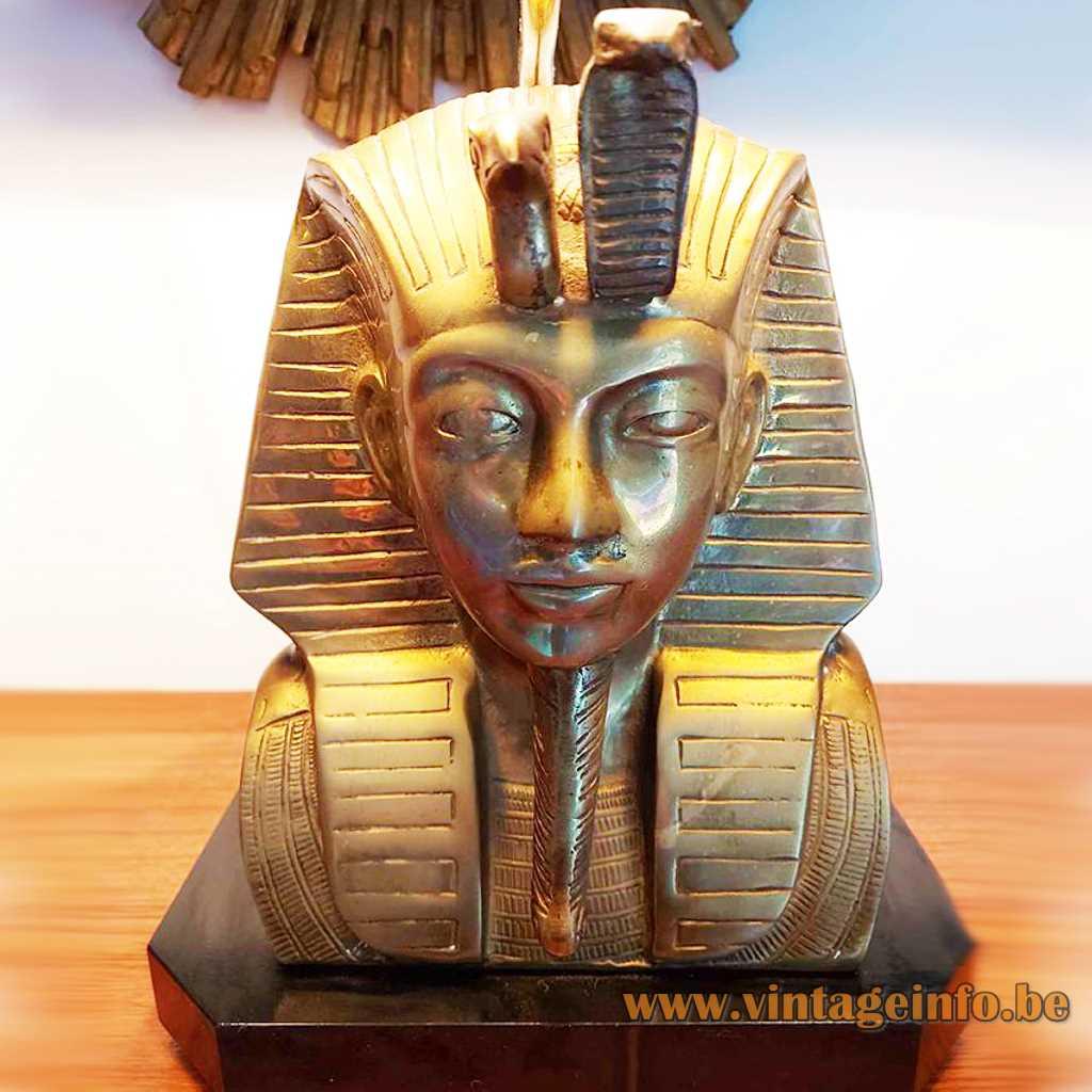 Black wood base bronze moulded brass dead mask of king Tut black pagoda lampshade E27 socket