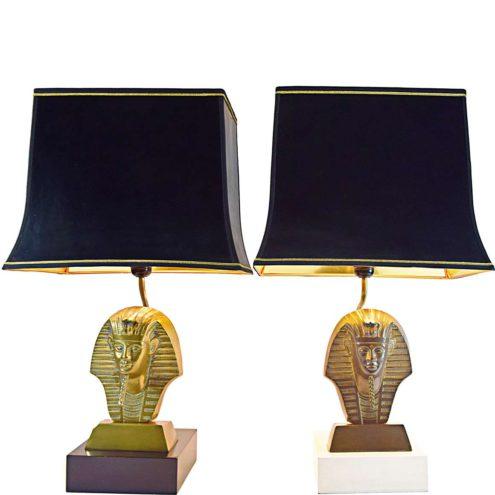 Tutankhamun table lamps black & white wood base brass alloy pharaoh pagoda lampshade 1970s 1980s Massive Belgium