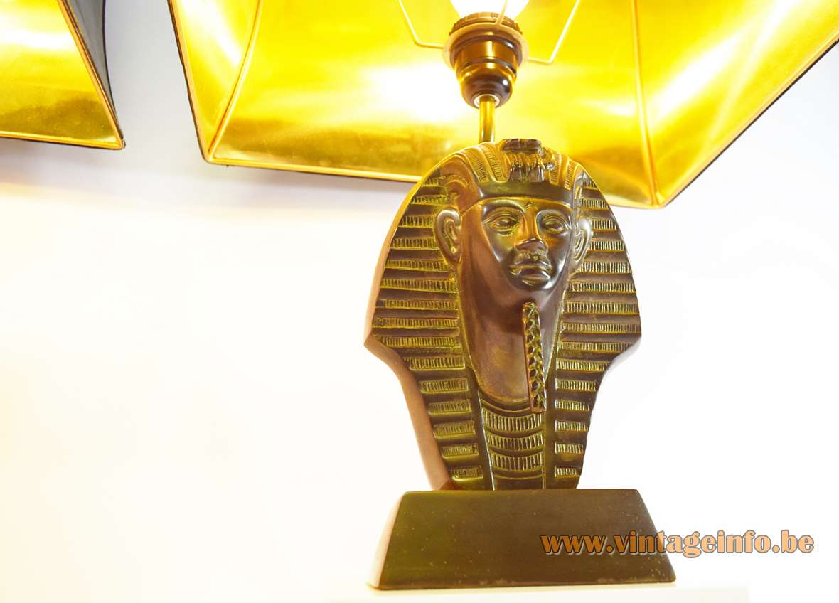 Tutankhamun Table Lamps lacquered wood base brass alloy pagoda lampshade 1970s 1980s Hollywood Regency