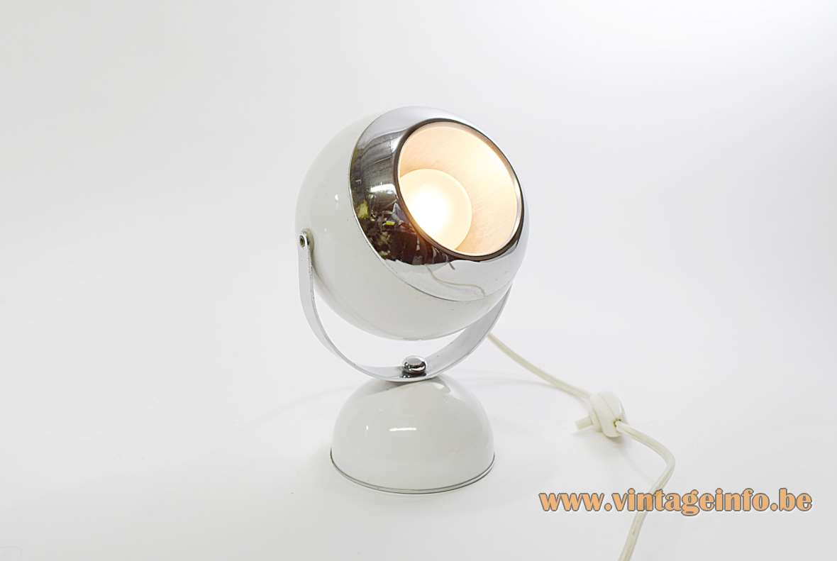White Eyeball Table Lamp half round base globe chrome ring adjustable 1960s 1970s MCM