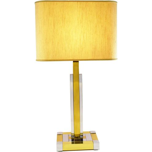 Willy Rizzo style table lamp square brass & chrome tubes fabric lampshade Arte Lumen 1970s 1980s Germany