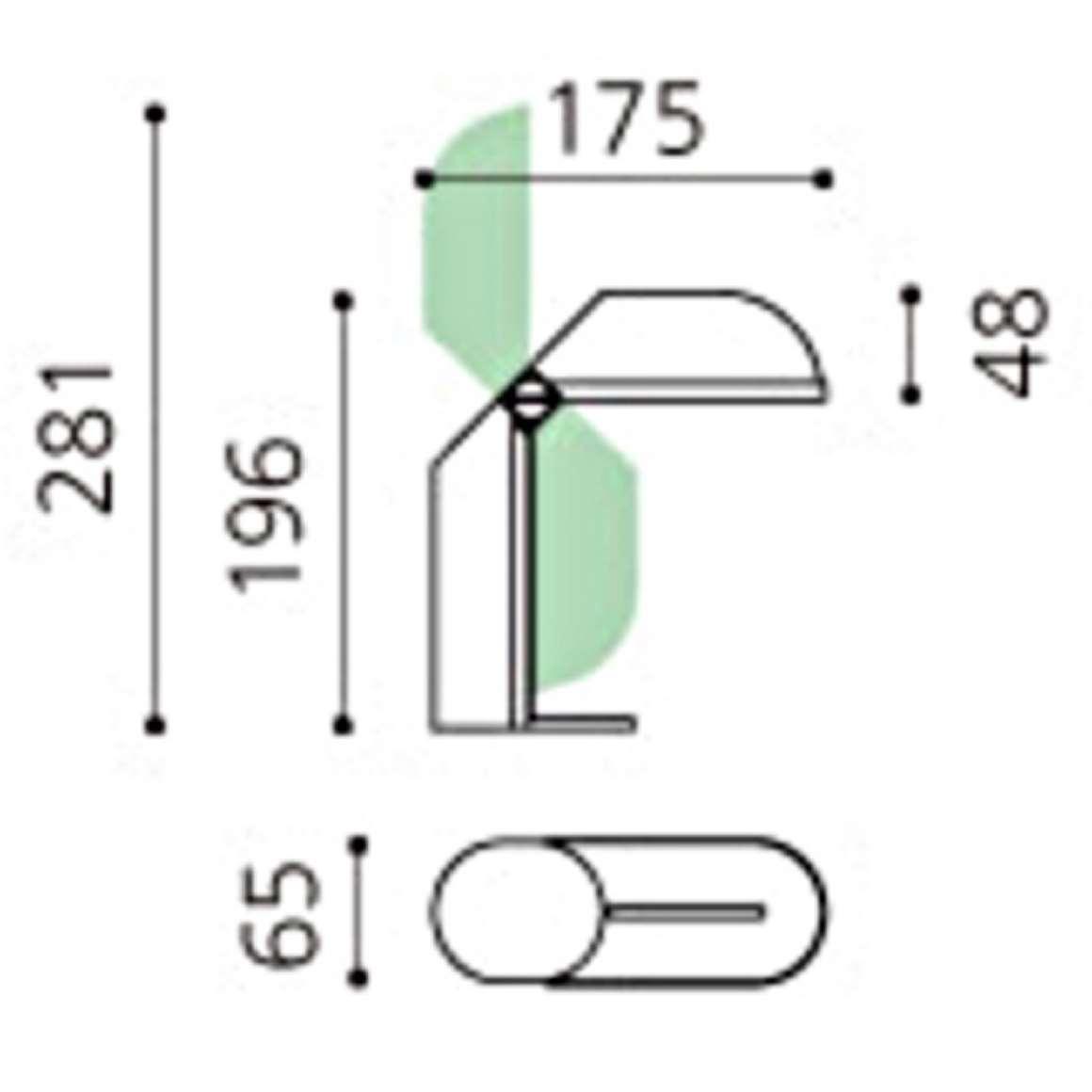 Foldable plastic table lamp Tronconi Fase Vrieland Happylight Fischer Leuchten Massive MCM scheme