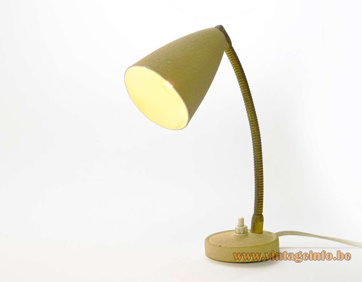 1950s Aluminor bedside lamp or small table lamp with a round base conical lampshade brass gooseneck